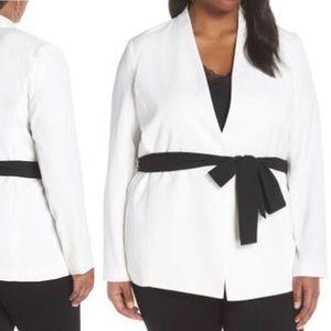 NWT Halogen Tie Waist Jacket White & Black Plus